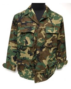 BDU Jacket Woodland ERDL Leaf Pattern 100% Cotton Ripstop