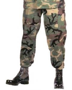 Military Spec B.D.U. Pants Woodland Camo (100% Cotton Ripstop)