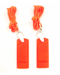 2 Pack of Orange Safety Whistles