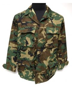 Military Style BDU Jacket Woodland ERDL Leaf Pattern