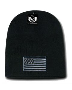 USA Flag Cuffless Beanie Black