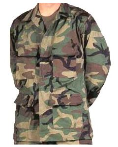 Military Spec B.D.U. Jacket Woodland Camo (100% Cotton Ripstop)
