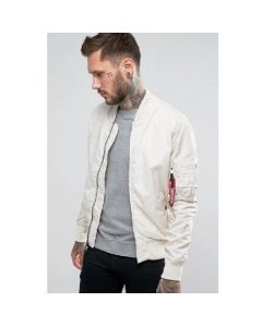 White Alpha Industries Slim Fit MA-1 Pilot's Bomber Jacket