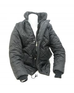 Black Nylon Quilted Pattern Jacket