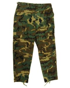 Military Style BDU Pants Woodland ERDL Camo 100% Cotton Ripstop