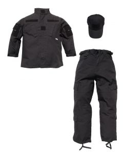 Kids Black 3 Piece Tactical Uniform
