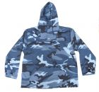 US Made Blue Camo Anorak Pull Over Hooded Jacket