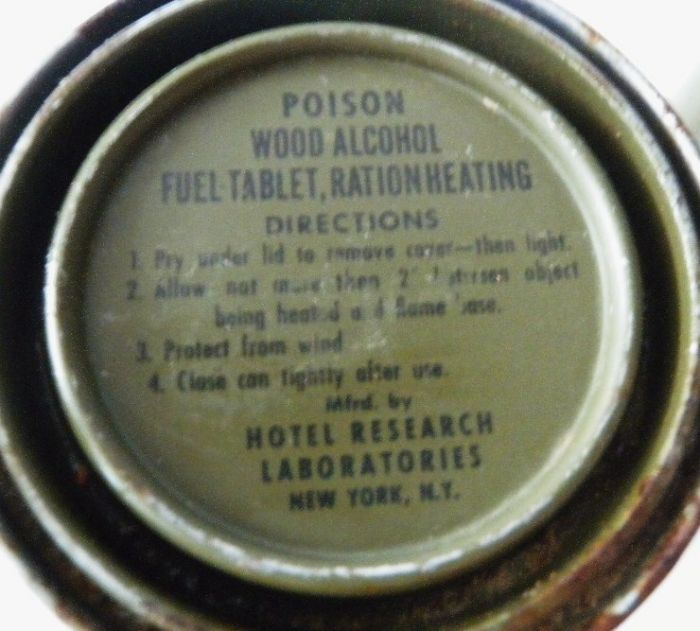 WWII US Fuel Tablet Ration Heating Size A