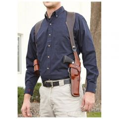 Montezuma® Vertical Leather Shoulder Holster with Mag Pouch Model 43DS
